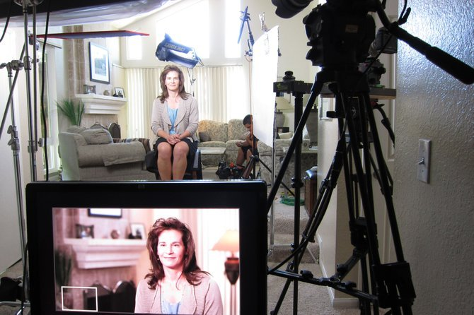 In a Rancho Penasquitos living room, a commercial is being filmed