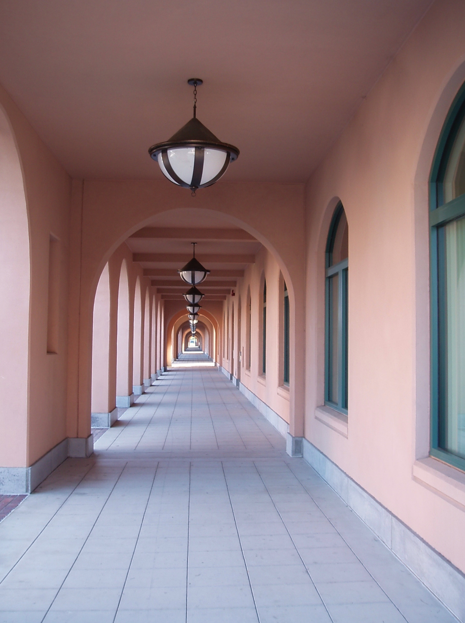 A colonnade at the Naval Training Center next to Liberty Station.