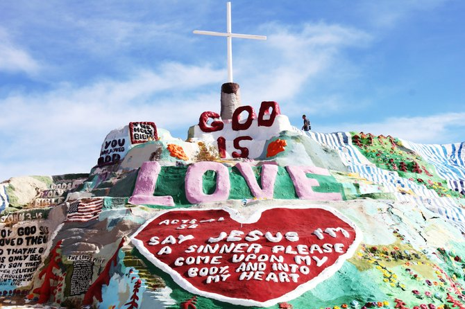 Salvation Mountain is located East of Niland, CA. which is in the Imperial Valley.  If you are ever in the area drop by and say hello to some of the friendliest people you'll ever meet!  I had the honor to meet Mr. Leonard Knight who built this mountain for his love of GOD two years ago.  Enjoy... Vilma