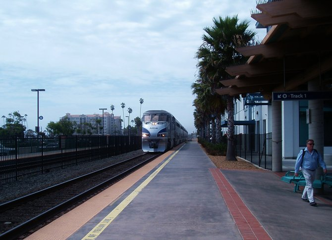 The Surfliner coming into the station at Oceanside.