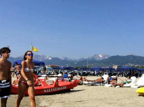 Beachgoers in Marina di Pietrasanta, just north of Torre del Lago.