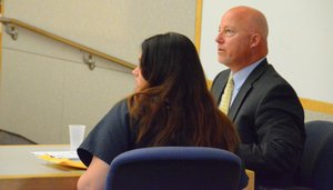 Maraglino w her attorney Sean Leslie.  Photo Bob Weatherston.