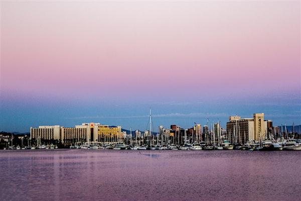 Harbor Island from Spanish Landing at 7:28 p.m. on August 27, 2012.