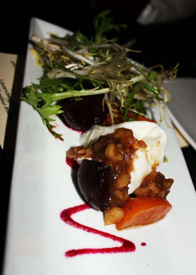 A beet and burrata salad off the new menu developed with Gordon Ramsay for The Merk Bistro.