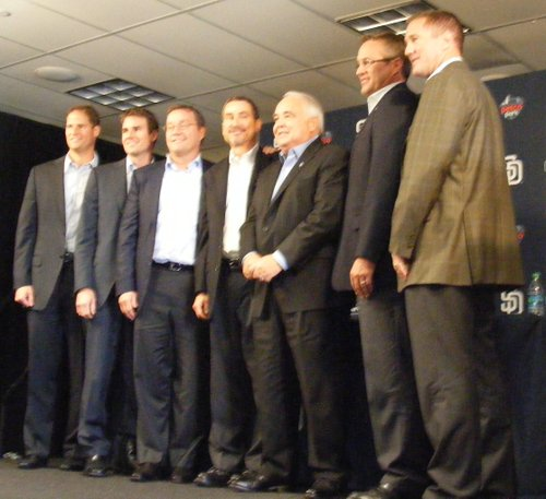 (Left to right) Kevin O'Malley, Brian O'Malley, Tom Seidler, Peter Seidler, and Ron Fowler (part of the group that purchased the Padres); along with Tom Garfinkel (CEO) and Josh Byrnes (General Manager)