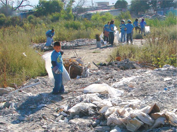 Trash pickup along the river