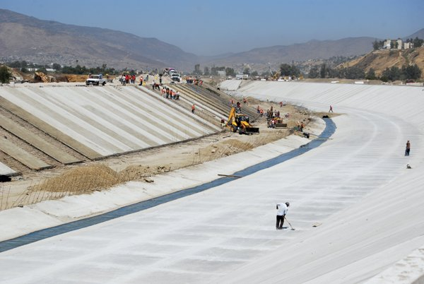 Nearly completed river channel