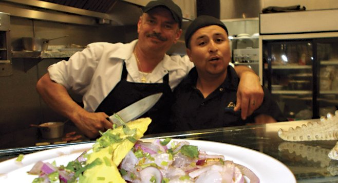Chefs Leo and Nazareth yucking it up