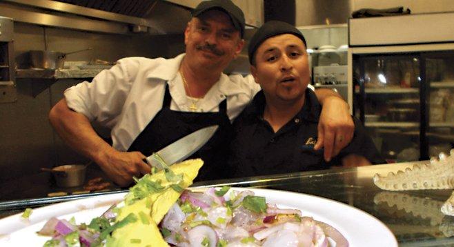 Chefs Leo and Nazareth yucking it up