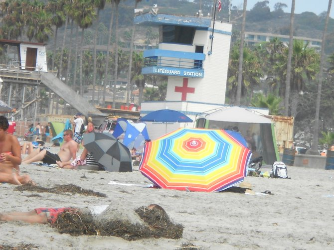 That's one colorful umbrella that can't be missed at La Jolla Shores.