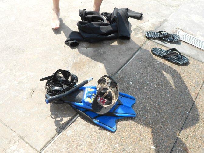 Scuba and snorkel gear at La Jolla Shores.