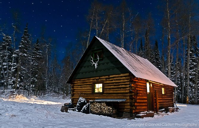 Hunter's camp in the Rocky Mountains.