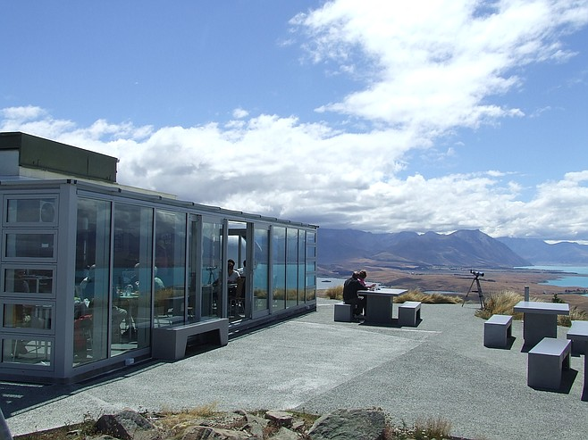Not a bad view for lunch... Mt. John's Astro Cafe