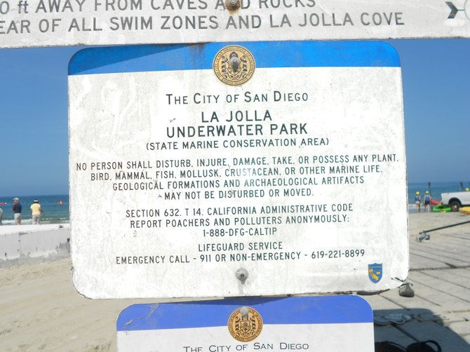 La Jolla Shores Underwater Park sign.