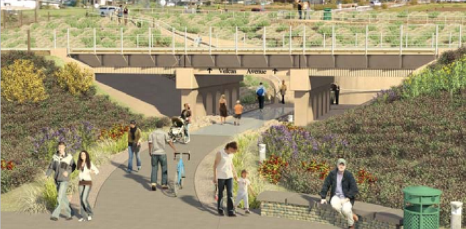 SANDAG rendering of Encinitas pedestrian undercrossing from keepsandiegomoving.com