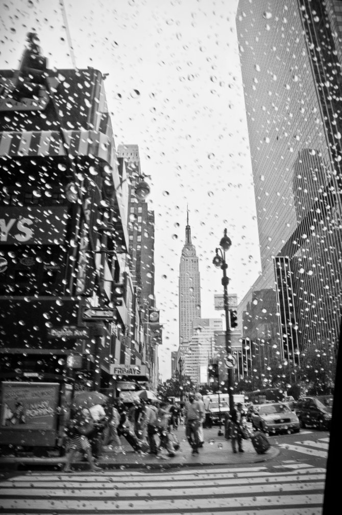 The Empire State Building through the window of a NYC cab.  August, 2012