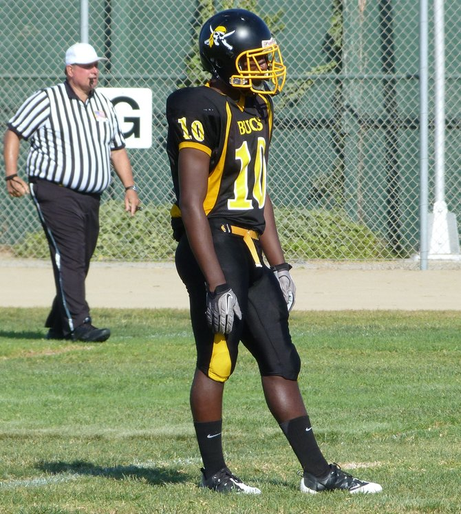 Mission Bay junior receiver Andre Petties-Wilson awaits the second half kickoff