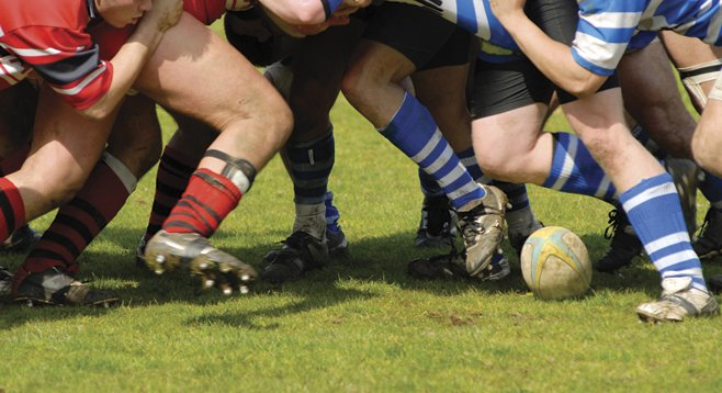 Despite not wearing helmets, rugby players suffer far fewer concussions than football players.