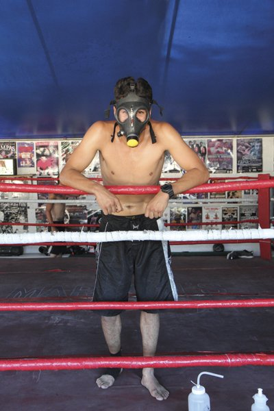 Jaime Reyes's breathing mask simulates high-altitude aerobic training.