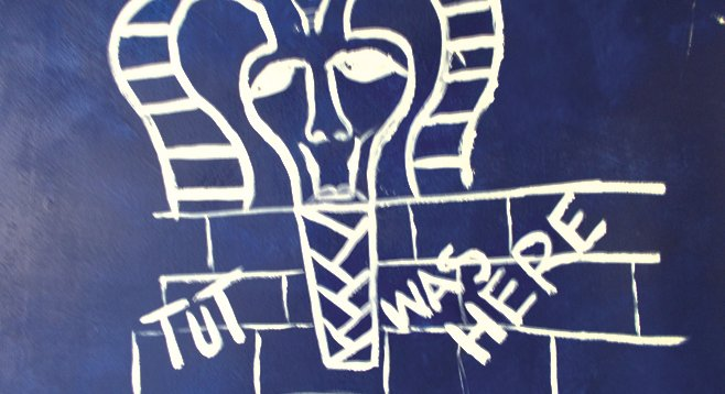 Egyptian art adorns the café walls, and Egyptian jokes adorn the  bathroom walls.