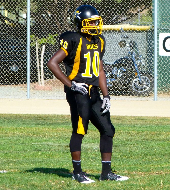 Mission Bay junior receiver Andre Petties-Wilson awaits a Clairemont kickoff