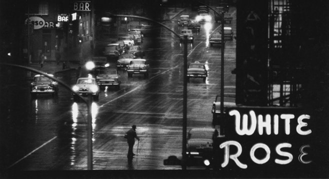 Like most street photographers, Smith was mad for signage (White Rose sign ca. 1957).