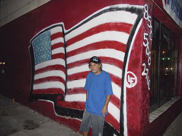 Gerald at the flag wall