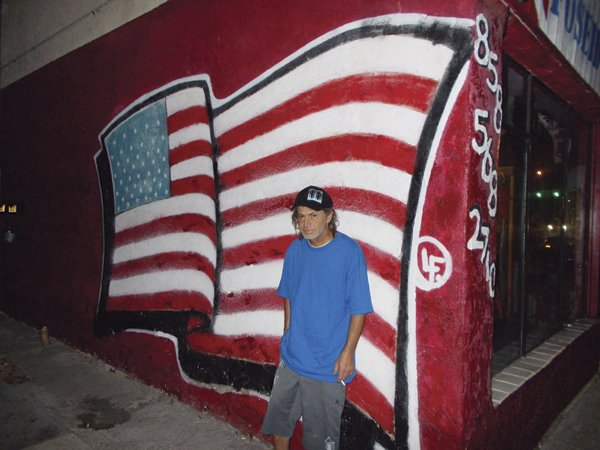 Gerald at the flag wall