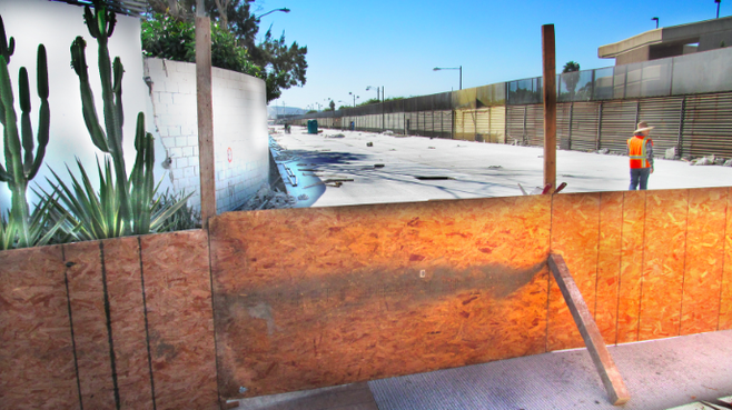 "Behind the fence are the remains of the ""switchback"" walkway that used to bring pedestrians from San Ysidro."