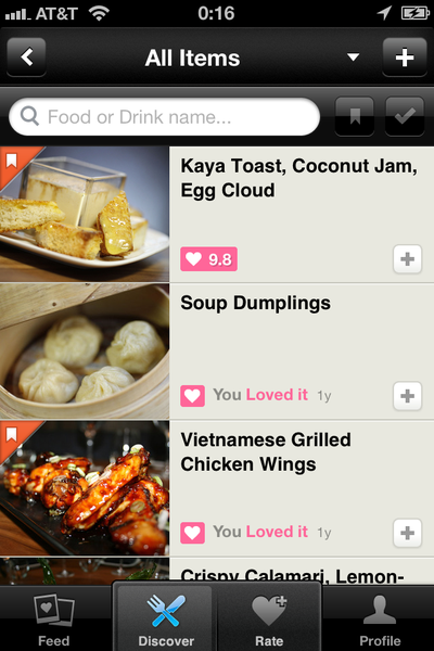 Sample of a Forkly menu showing some dishes that have garnered enthusiastic ratings