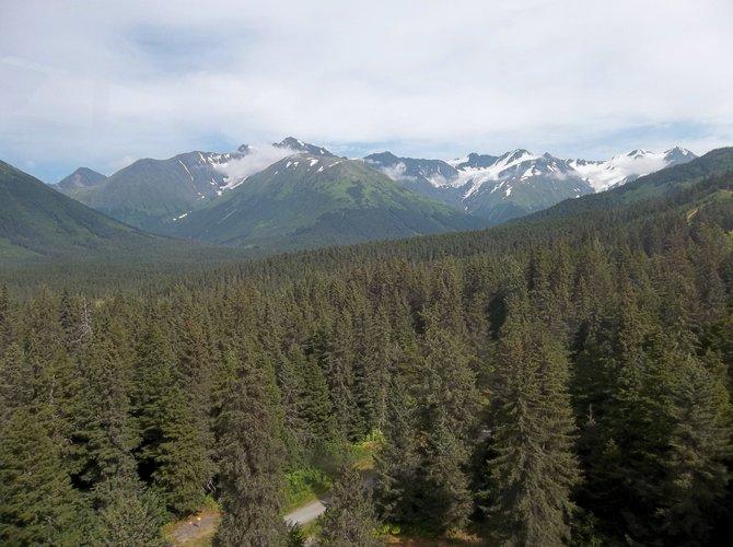 View from the ski tram up Mount Alyeska in Girdwood, Alaska.