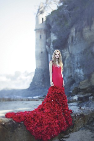 """When Kenneth Barlis, who designed this red gown, changed his focus from medicine to clothing design, """"My entire family freaked out,"""" he says, """"especially my mom."""""""