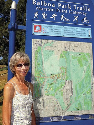Balboa Park's Trail 43 has been renamed the Jerry Schad trail.  The late Roam-O-Rama columnist and his wife Peg Reiter (insert) walked the trail on their first date.