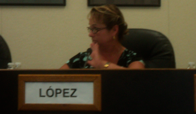 """The compensation package is not just $252,000 [annual salary],"" Bertha Lopez told the audience."