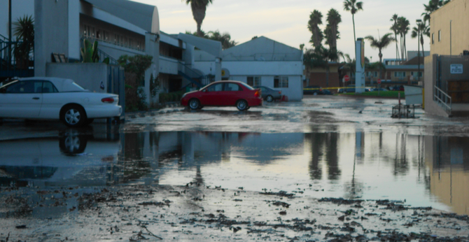 At least 25 first-level motel rooms at the nearby Super 8 were filled with mud and water.
