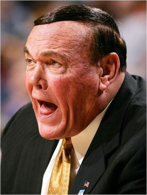 Basketball coach Gene Keady...wait a minute. That's not a yarmulke.