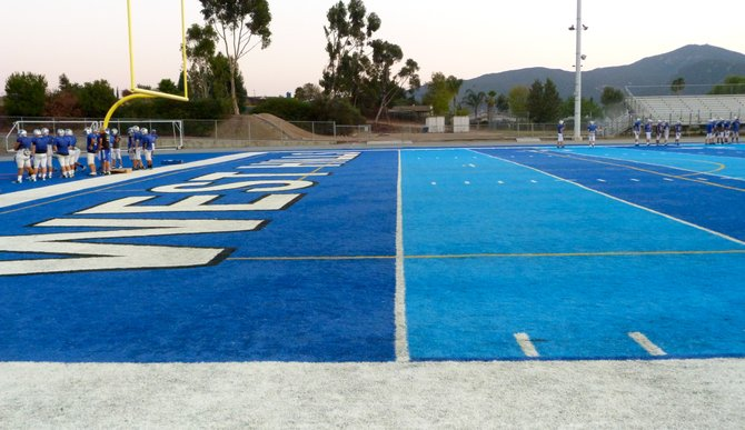 The blue turf at West Hills is the only non-green two-tone field in the nation