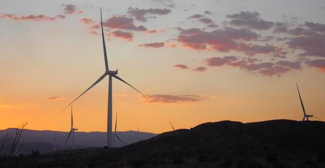 Windmills in Ocotillo at sunset