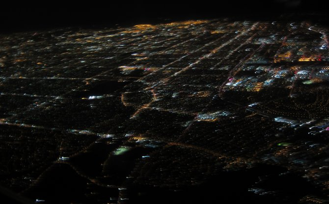 A view of Los Angeles from the window of a plane.