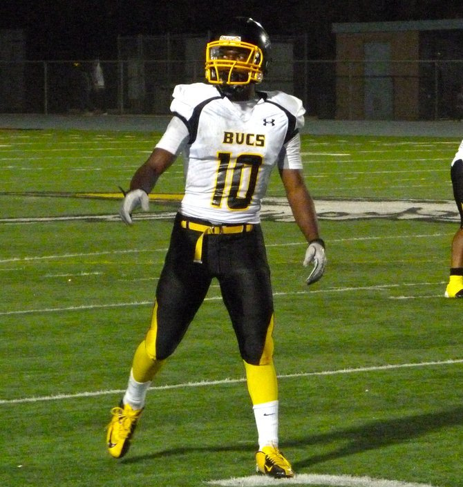 Mission Bay junior receiver Andre Petties-Wilson at the line of scrimmage