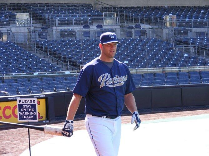 Padres starter Eric Stults, preparing to take batting practice