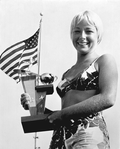"""Sixteen-year-old Linda Benson. Benson """"just happened to be in Hawaii """" during the filming of Gidget Goes Hawaiian. She got the job of Gidget's stunt double.  Later, Benson was a stunt double in  Beach Party films."""