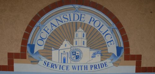 Oceanside Police headquarters, wall signage. Photo Weatherston