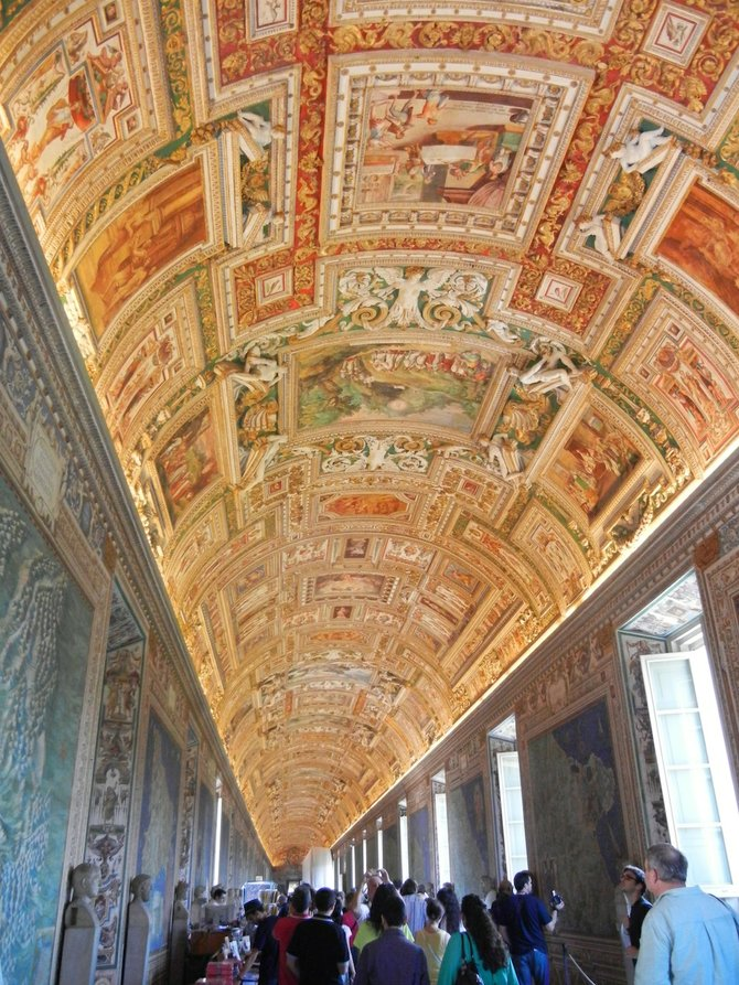 Neck-craning-worthy art adorns ceilings throughout the Vatican Museum.