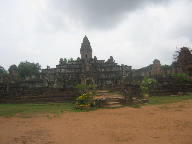 Dark clouds create an atmospheric visit to this Angkor temple