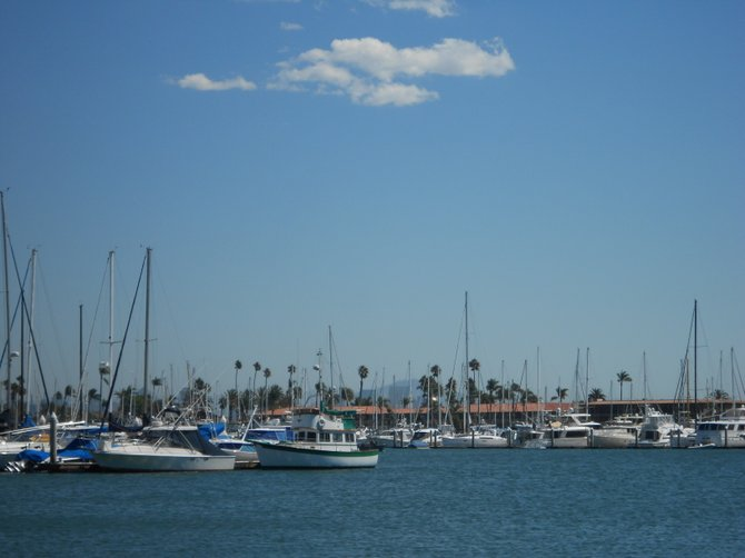Boats docked at Shelter Island marina near Point Loma.