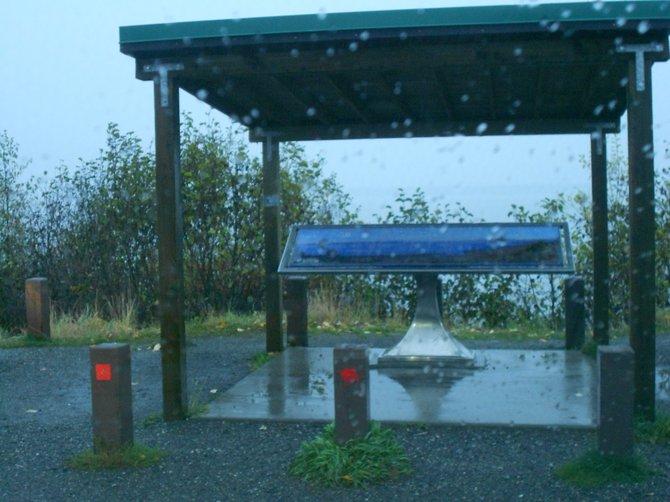 Earthquake Park memorial in the rain of Anchorage, Alaska.