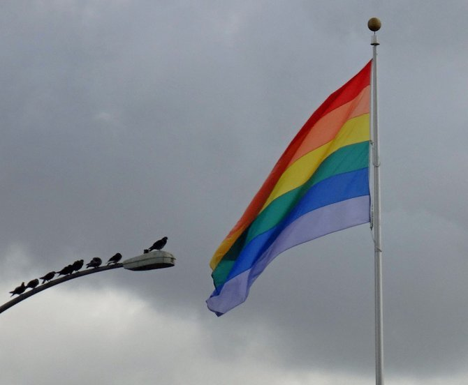 """Birds of a feather flock together.""  The rainbow flag in Hillcrest on a cloudy day."