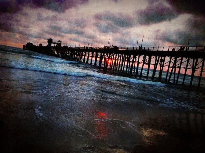 Oceanside pier at sunset with iPhone camera.