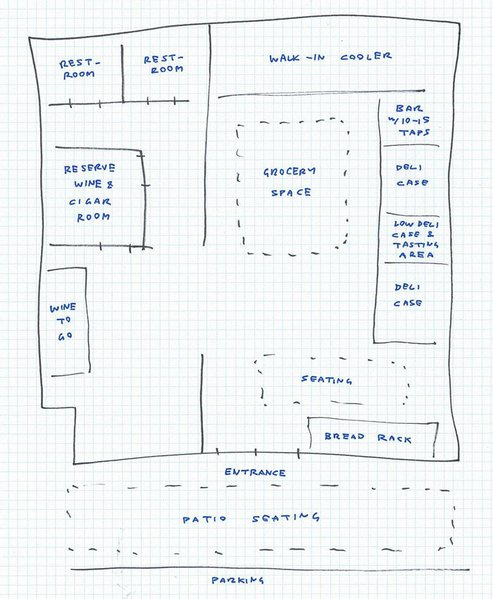 I could show you photos of a construction site, but this rough sketch of Brothers Provisions' floorplan is probably more helpful.